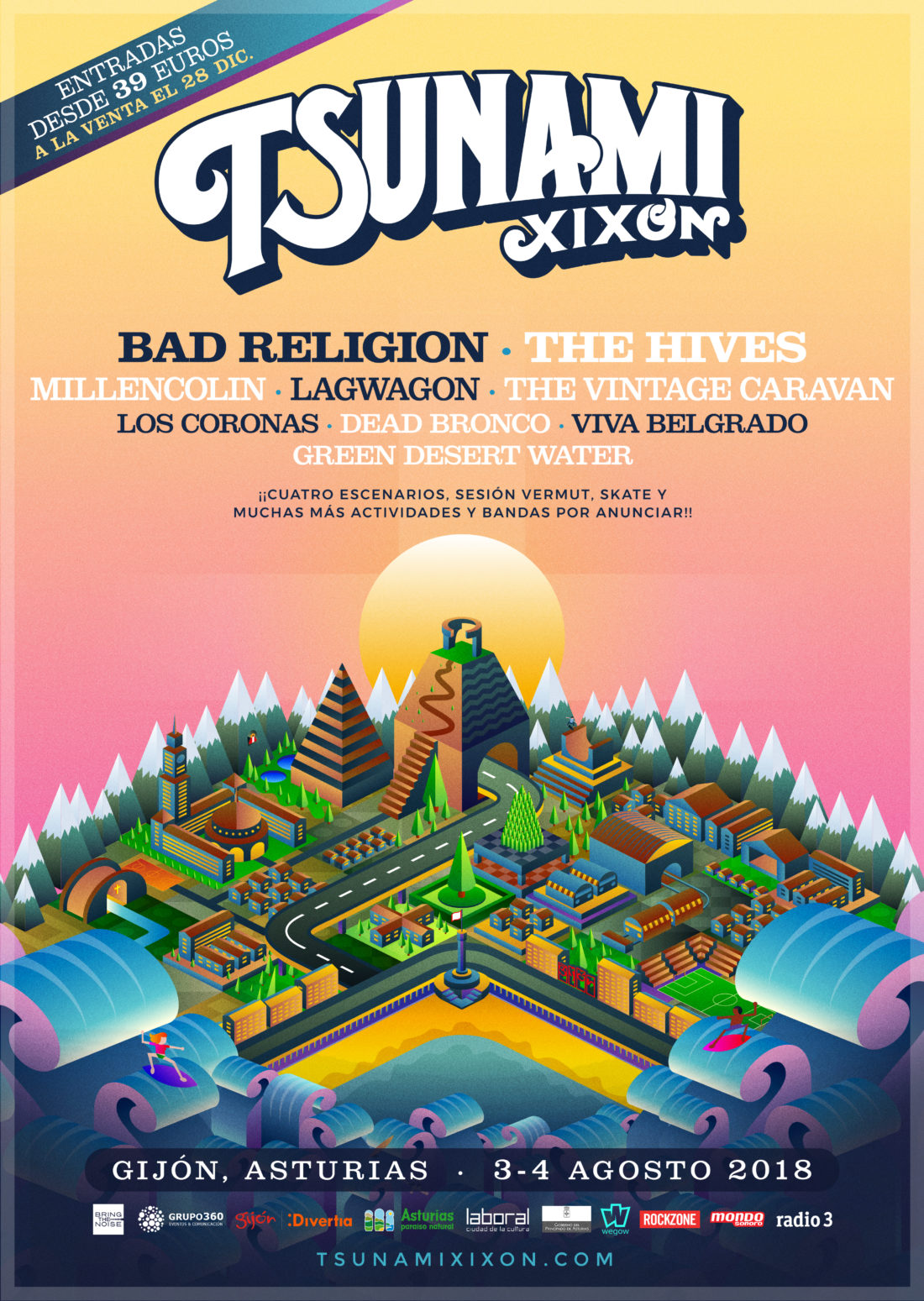 Bad Religion, The Hives, Millencolin, Lagwagon y muchos más se unen al Tsunami Xixón 2018
